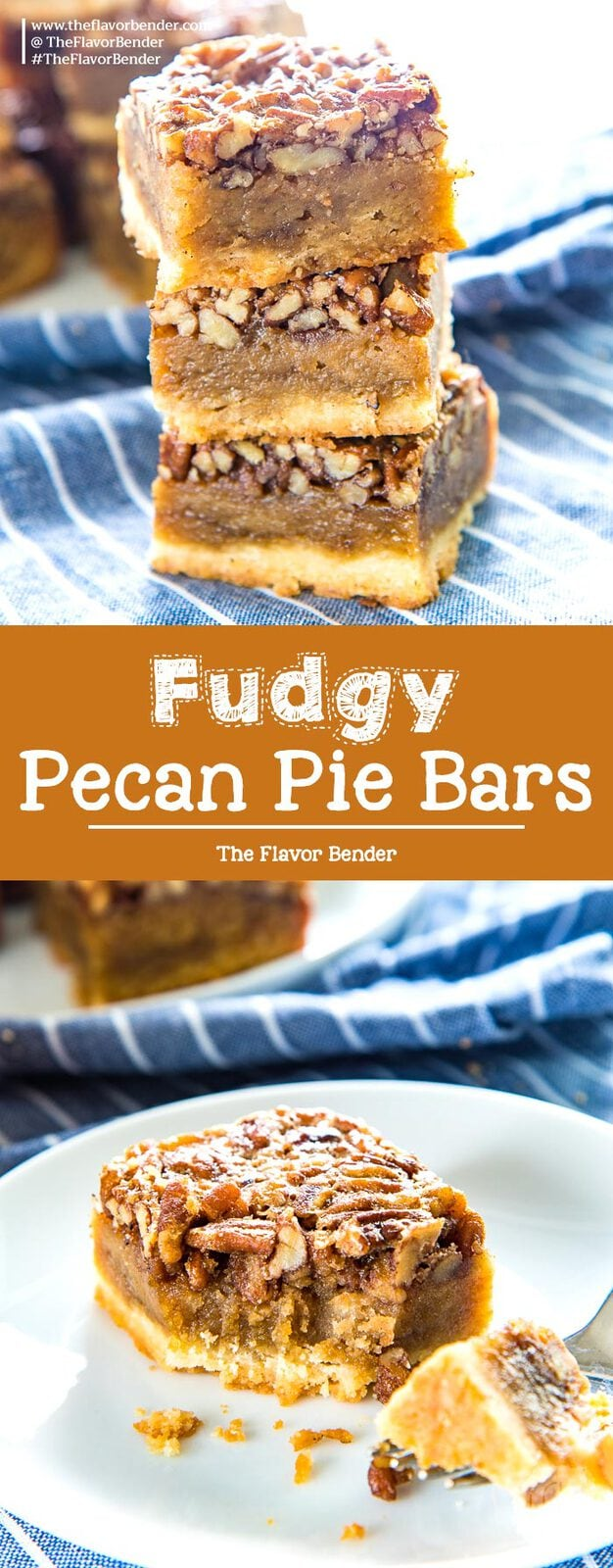Fudgy Pecan Pie Bars - Classic Pecan pie, but as a bar or slice! A buttery shortbread crust and a fudgy flavorful pecan pie layer. A fantastic and easy dessert for Thanksgiving! #PecanPie #PecanPieBars #ThanksgivingDesserts #FallRecipes