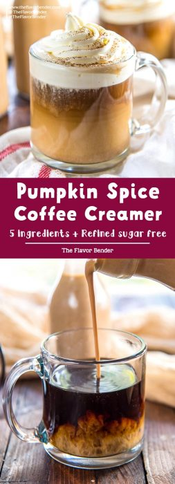 Pumpkin Spice Coffee Creamer - Homemade Pumpkin spice creamer with plenty of pumpkin flavor and spice. Refined sugar free and perfect to add to your morning coffee. #PumpkinSpiceCoffeeCreamer #PumpkinSpiceLatte #CoffeeCreamer #BreakfastRecipes