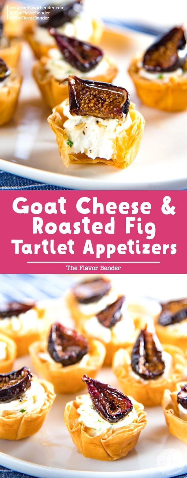 Goat Cheese and Roasted Fig Tartlet Appetizers that are sweet, savory, creamy and crunchy all in one bite. These appetizers can be made a few days ahead of time, and the recipe is also very adaptable. #HolidayAppetizers #PhylloCupAppetizers #FigTartlet #FigRecipes