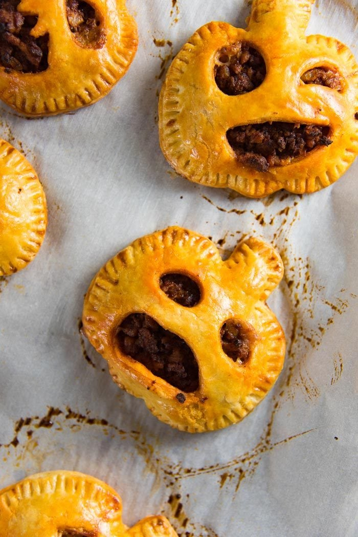 Spooky Chorizo Hand Pies - A scrumptious savory snack for your Halloween party! Easy and fun to make too.