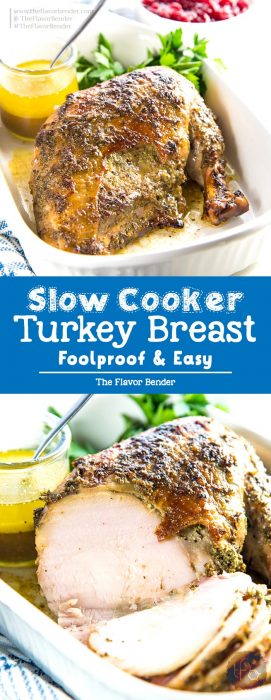 Slow Cooker Turkey Breast - A sage garlic butter flavored turkey breast roast, cooked to juicy perfection in the slow cooker! Perfect for Thanksgiving, holiday dinners or anytime you like to make a juicy roast. #ThanksgivingRecipes #TurkeyRecipes #SlowCookerRecipes