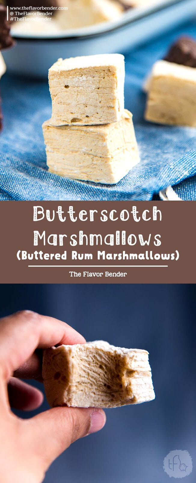 Butterscotch marshmallows (or buttered rum marshmallows) - soft, buttery and fluffy marshmallows that are easy to make, delicious to eat and perfect for gift giving too! #Marshmallows #HolidayRecipes #Confections #Butterscotch #EdibleGifts #ButteredRumMarshmallow