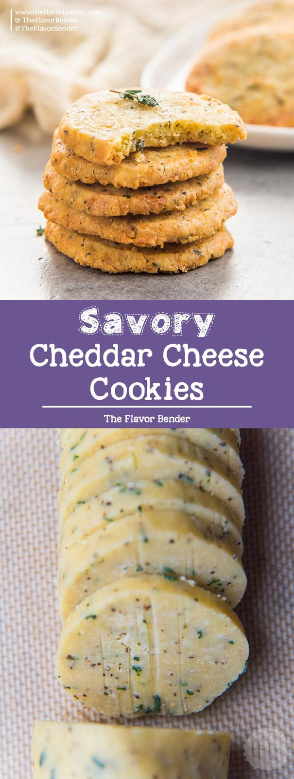 Thyme and Cheddar Cheese Cookies - These slice and bake savory cookies are easy to make and delicious! Perfect as appetizers or as snacks. #SliceAndBakeCookies #SavoryCookies #CheeseShortbread #Cheeseboard #Appetizers
