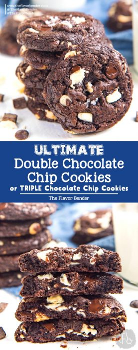 Ultimate Double Chocolate Chip Cookies (or Triple Chocolate Chip Cookies) - Soft and chewy Chocolate Chip Cookies with white or dark chocolate chips, or both! Easy to make and customize. #ChocolateChipCookies #DoubleChocolateChipCookies #TripleChocolateChipCookies