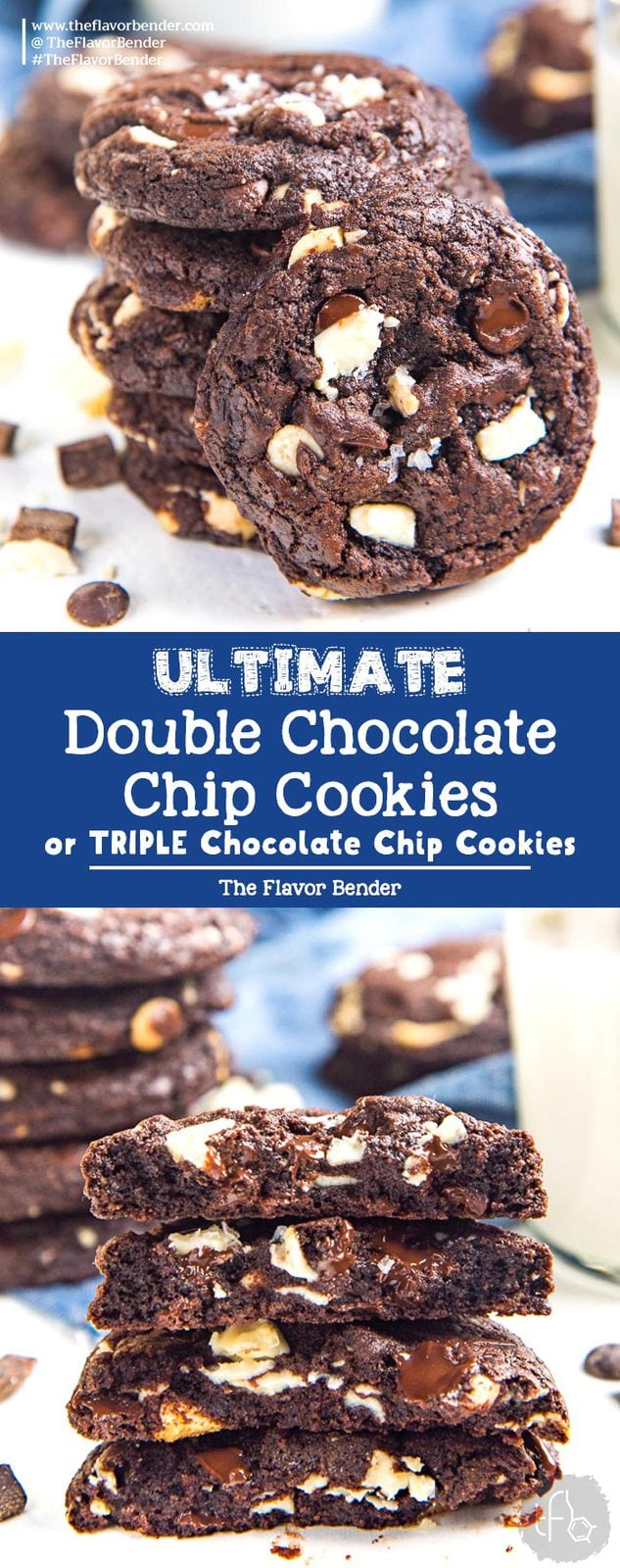 Ultimate Double Chocolate Chip Cookies (or Triple Chocolate Chip Cookies) - Soft and chewy Chocolate Chip Cookies with white or dark chocolate chips, or both! Easy to make and customize.#ChocolateChipCookies #DoubleChocolateChipCookies #TripleChocolateChipCookies