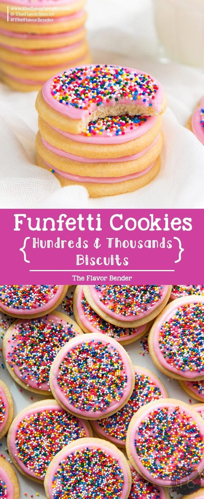 Funfetti cookies - also known as Hundreds and Thousands biscuits are soft, buttery and milky cookies topped with rainbow sprinkles and are an absolute crowd favorite! #FunfettiCookies #SugarCookies #HundredsAndThousands #NewZealandRecipes #CookieRecipes #FrostedSugarCookies