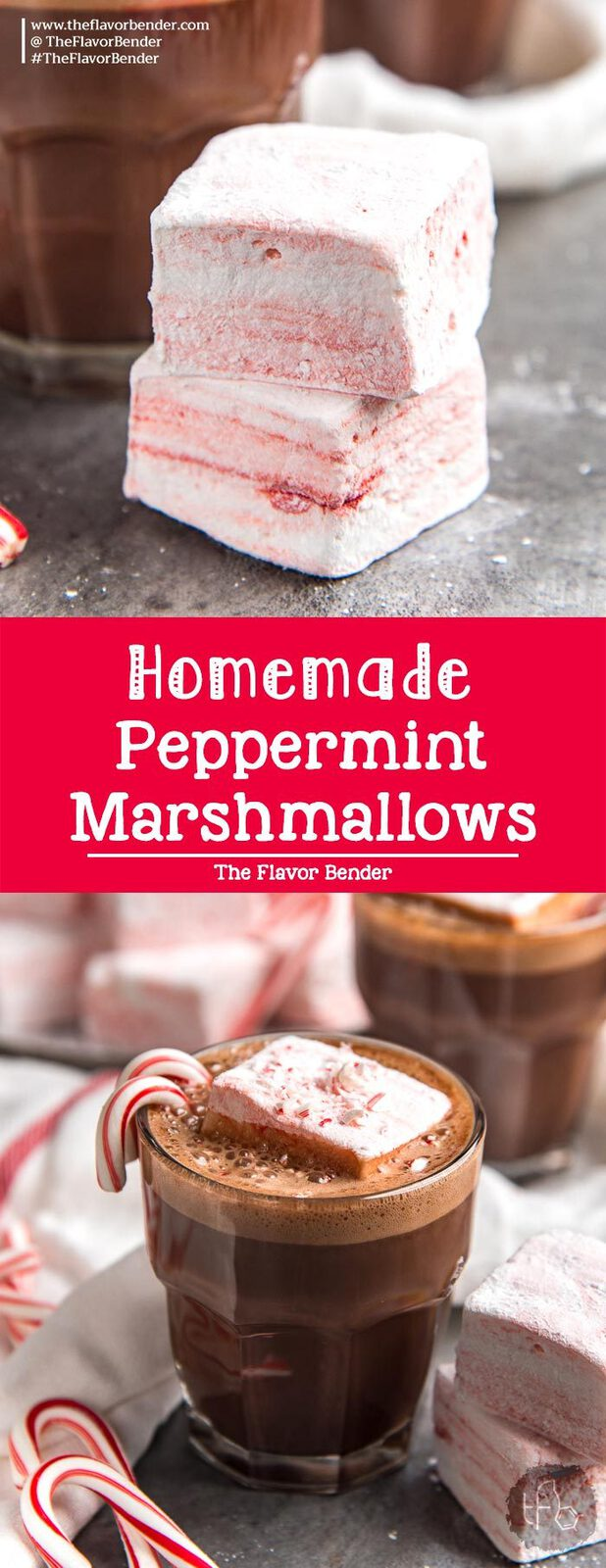Homemade Peppermint Marshmallows - Soft, springy, fluffy peppermint marshmallows that are addictively delicious. Make them with or without corn syrup.  #PeppermintRecipes #PeppermintMarshmallows #EdibleGifts #HolidayRecipes #HomemadeMarshmallows
