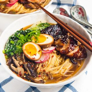 Easy Homemade Chicken Ramen - An incredibly flavorful Chicken ramen with authentic flavors, but easy to make for dinner! Topped with caramelized soy chicken and a ramen egg.