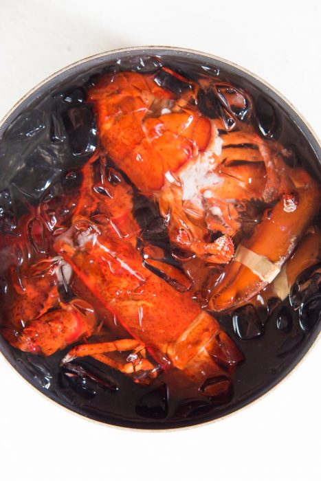 Learn how to cook Lobster - Cooked lobster in an ice bath to cool down.