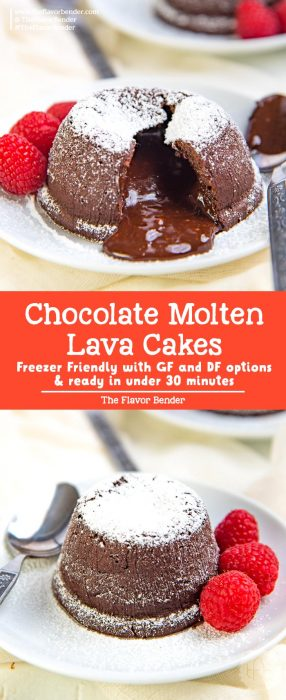 Chocolate Molten lava cake recipe - these molten lava cakes are  ready in under 30 minutes with only a 15 minute prep time. Easy, delicious and impressive desserts that can be frozen ahead of time! With gluten free options. #ChocolateMoltenLavaCake #ValentinesDay #EasyDessert #GlutenFree