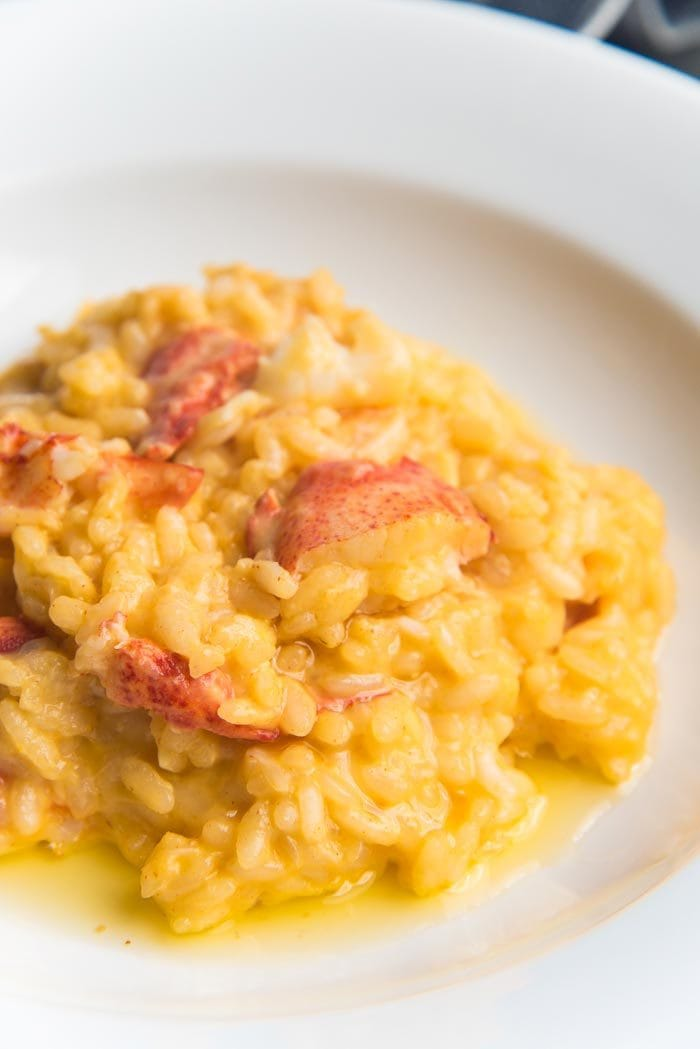 Risotto served on a white plate with butter poached lobster mixed in.