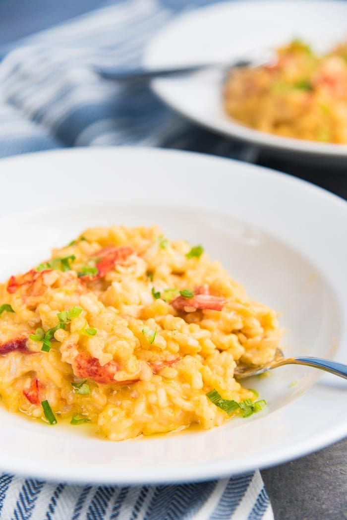 A plate of lobster risotto with a fork in the risotto.