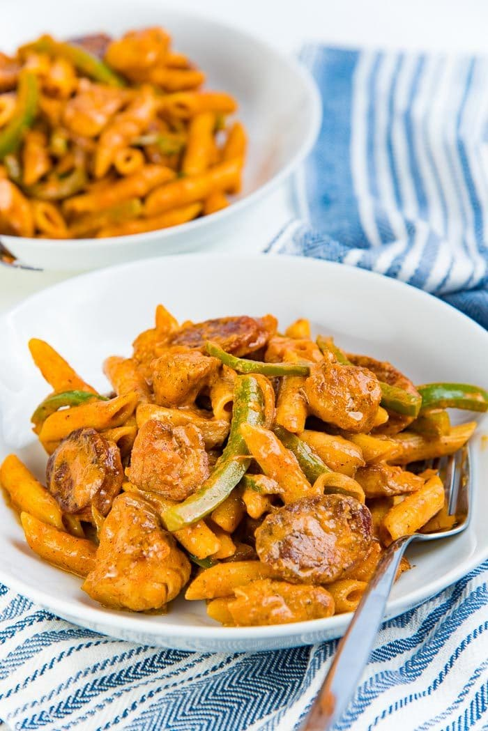 Creamy Cajun Chicken Pasta With Sausage Too The Flavor Bender