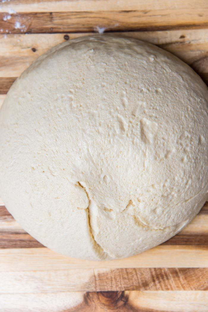 The dough turned out onto a lightly floured surface.