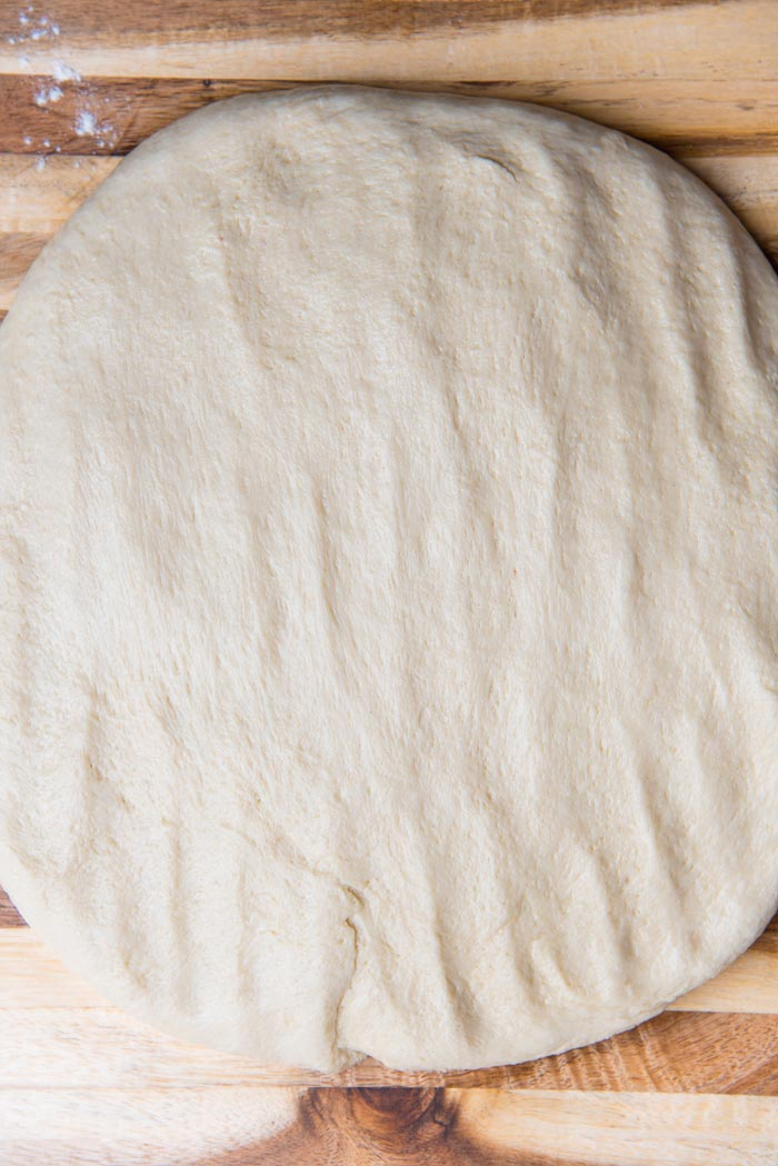Press out the air from the dough and shape into a rectangle.