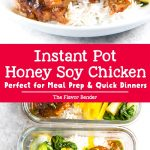 Instant Pot Honey Soy Chicken Thighs that is ready in 30 minutes and incredibly flavorful and easy to make! Perfect easy dinner for busy weeknights, and for meal prep lunches too. #InstantPotChicken #MealPrepRecipes #AsianChickenRecipes #EasyDinner #EasyLunch