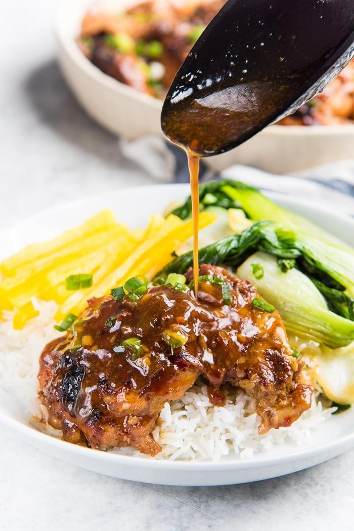 Instant Pot Honey Soy Chicken Thighs that is ready in 30 minutes and incredibly flavorful and easy to make! Perfect easy dinner for busy weeknights, and for meal prep lunches too.