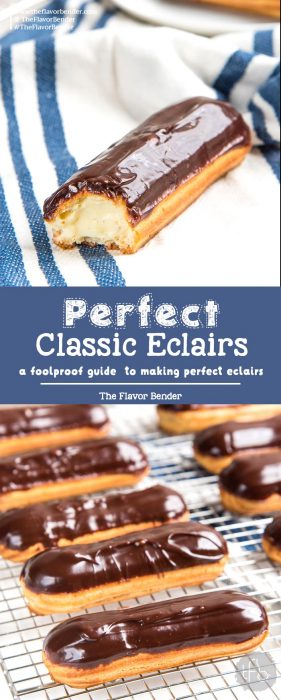 Classic Chocolate Eclairs - A foolproof recipe for making perfect eclairs that are crisp and puffy and filled with chocolate or vanilla pastry cream.#ChouxPastry #Eclairs #Pastries #ChocolateEclairs #DessertRecipes