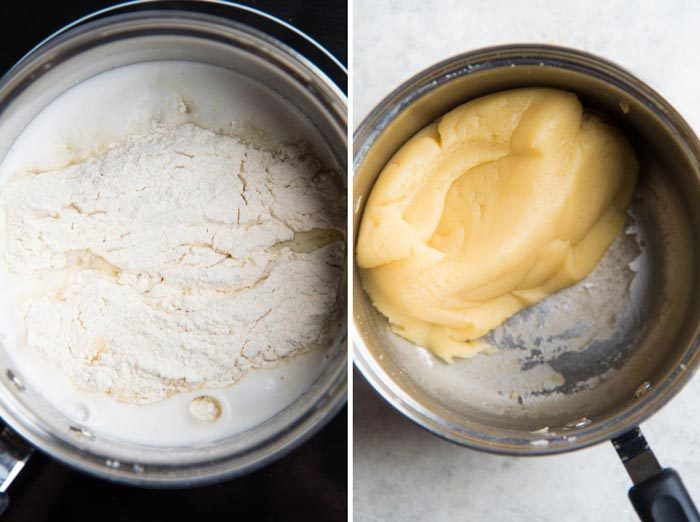 Making Perfect choux pastry step by step - Added the sifted flour and mix it into the boiling water. The second image is the dough mixed and being cooked in the saucepan.