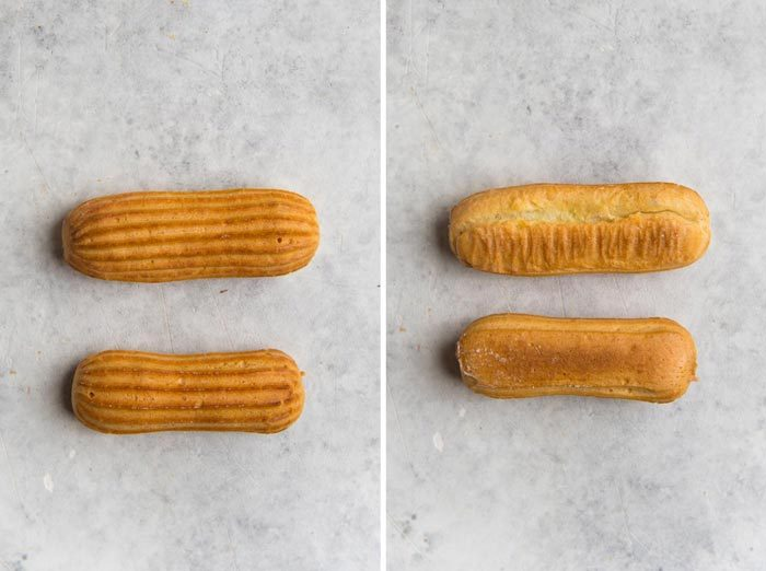 Difference of eclairs baked on parchment paper vs silpat. The top eclair expands horizontally and can collapse sometimes.