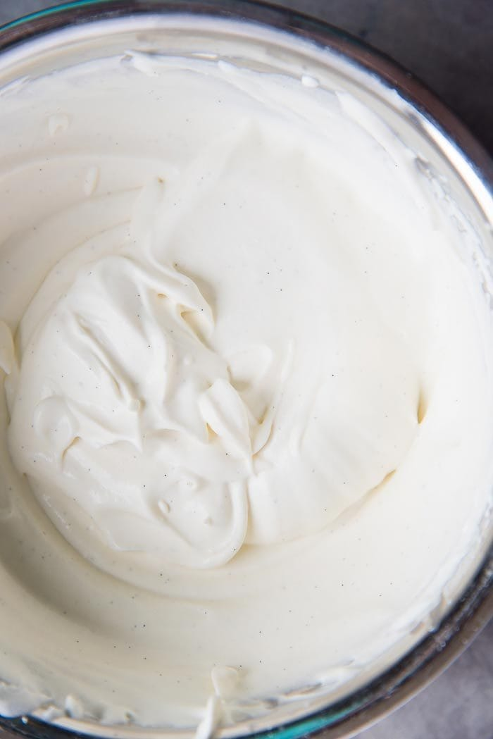 Stabilized chantilly cream prepared in a bowl, ready to be mixed with pastry cream.
