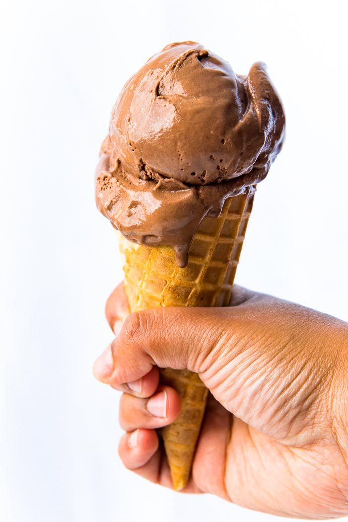 Chocolate Ice Cream scooped into a waffle cone