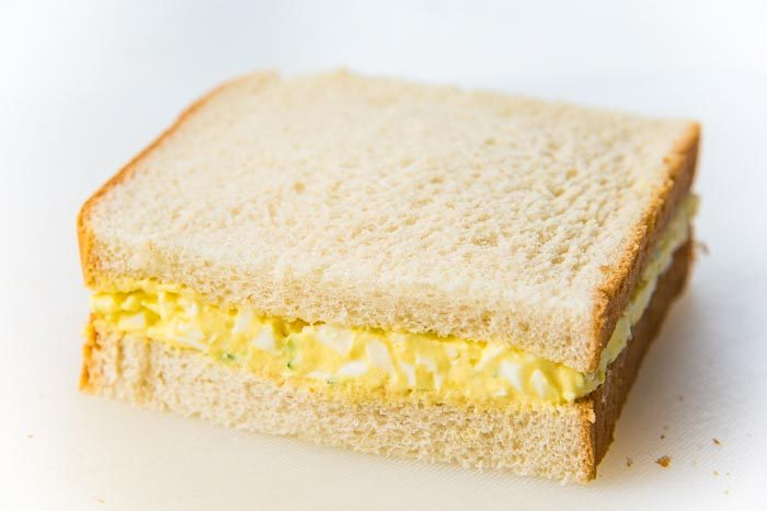 A side view of the japanese egg salad sandwich