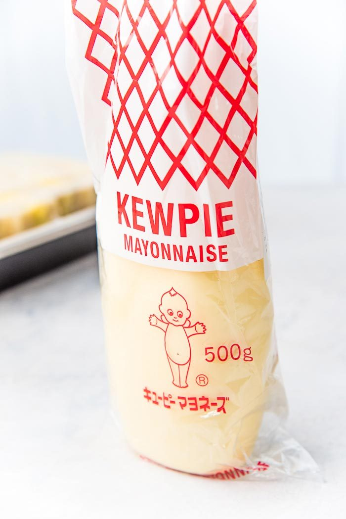 Bottle of kewpie mayonnaise on a table