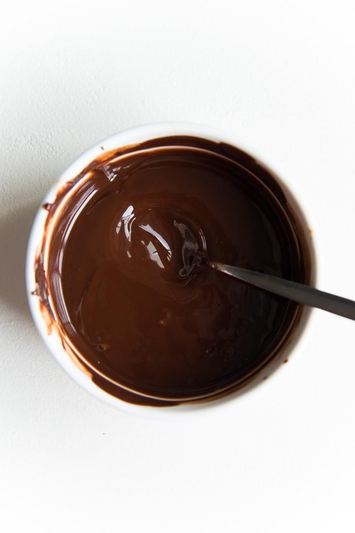 Chocolate, butter melted together in a small bowl, with peppermint extract stirred in.