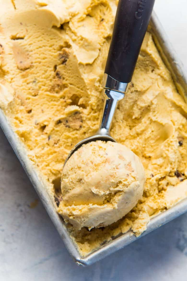 Salted butterscotch ice cream with a scoop of ice cream