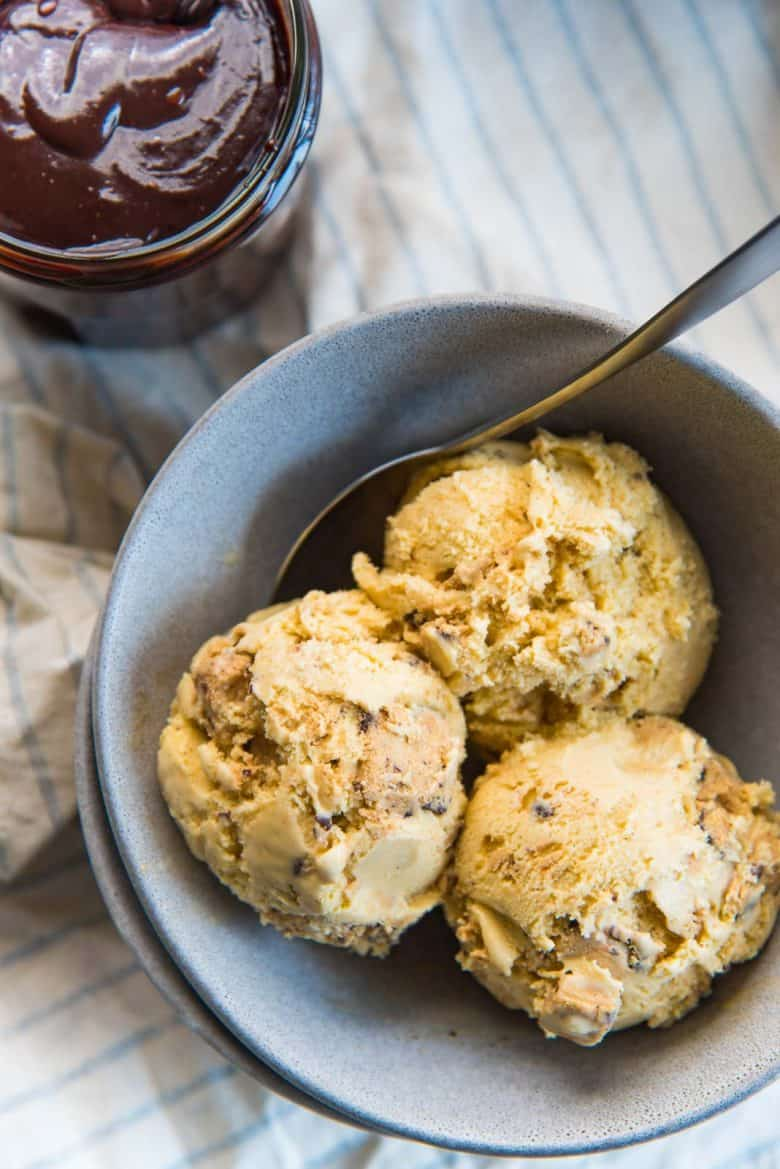 Salted Butterscotch Cookie Dough Ice Cream in a bowl