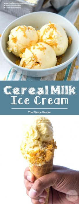Silky smooth, creamy, milky, and tastes like the cornflakes-soaked milk at the bottom of your cereal bowl - this Cereal Milk Ice Cream is one of my all-time favorite summer-time treats! #FrozenDesserts #IceCream #CerealMilkIceCream #TheFlavorBender