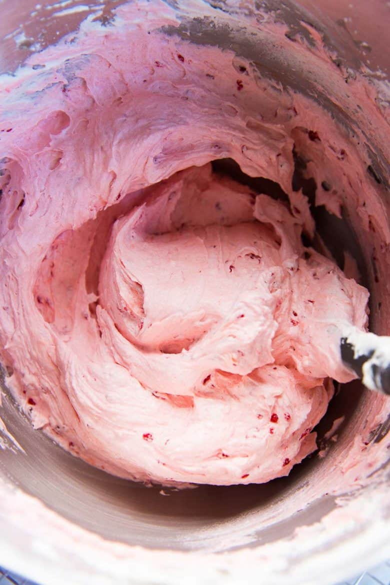 Raspberry buttercream in a bowl