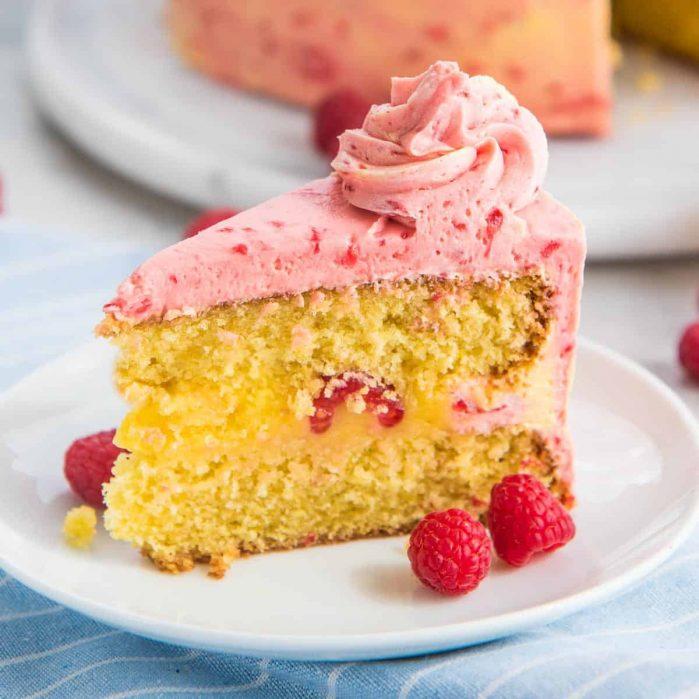 lemon raspberry cake with raspberry buttercream social media image