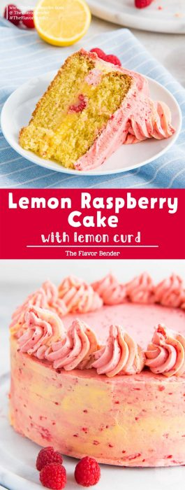 This lemon raspberry cake is an incredible refreshing and tasty! Easy lemon cake with lemon curd in the middle and raspberry buttercream all over. #LemonCake #SummerCake #CakeRecipes #TheFlavorBender