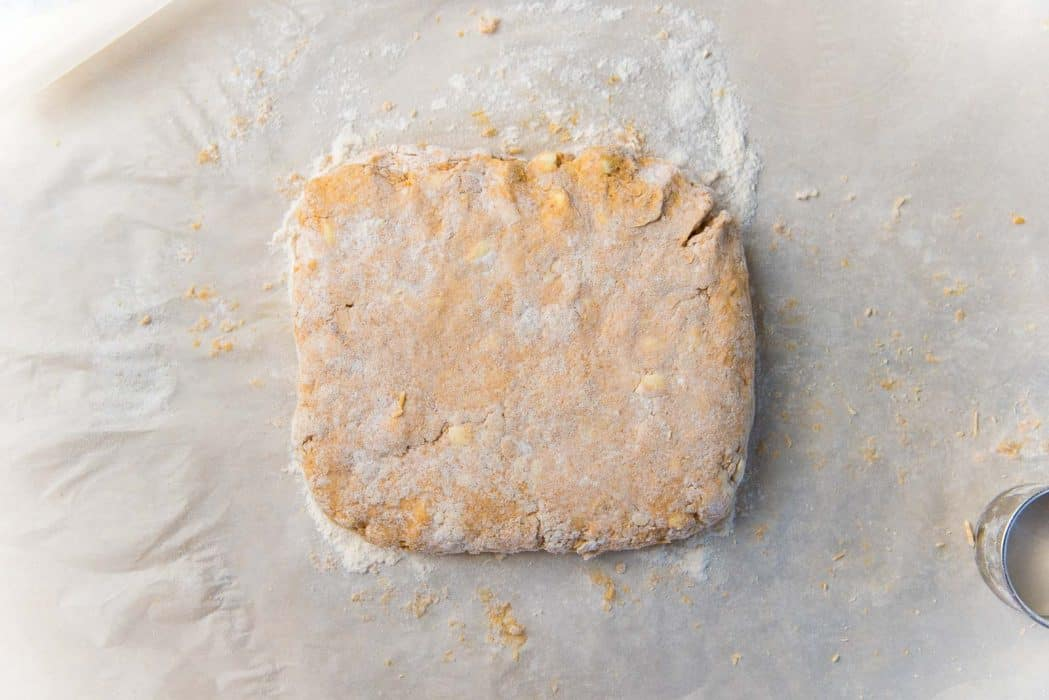 The dough formed into a slab before being cut