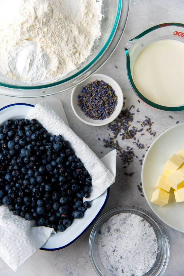 An overhead view of the ingredients to make Lavender Blueberry scone recipe