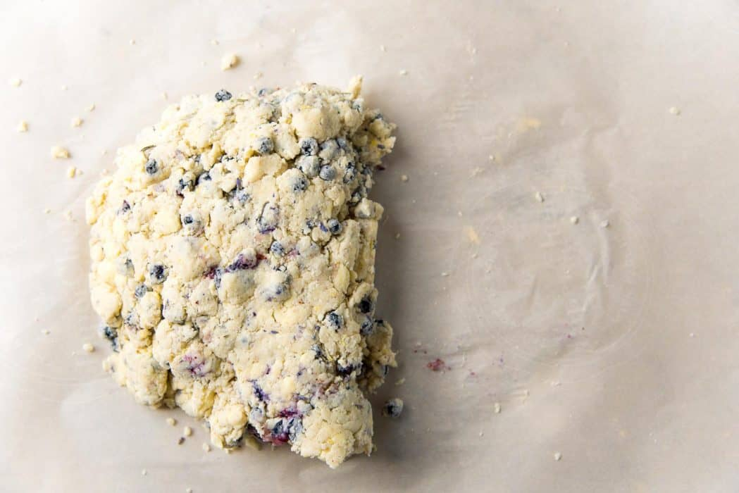 Lavender blueberry scone dough folded in half