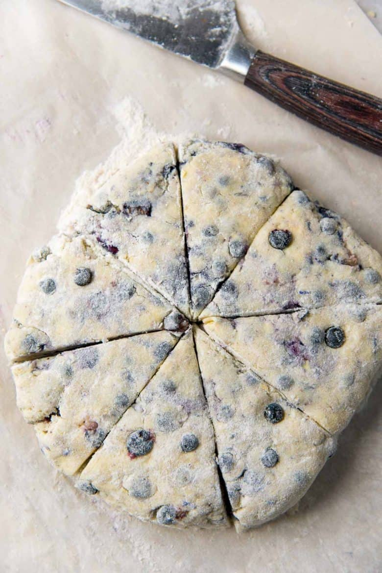 The scone dough into 8 pieces