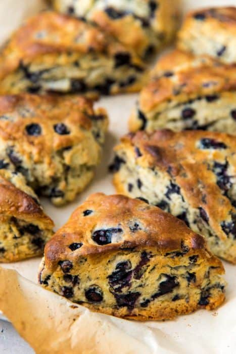 Lavender blueberry scones after they have been baked.