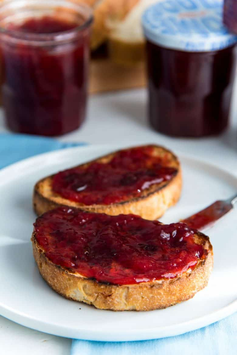 Plum jam spread on top of toast.
