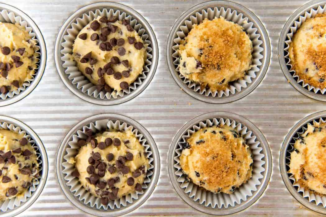 Basic muffin recipe with variations - Chocolate chip muffins, Raisin Cinnamon muffins before baking