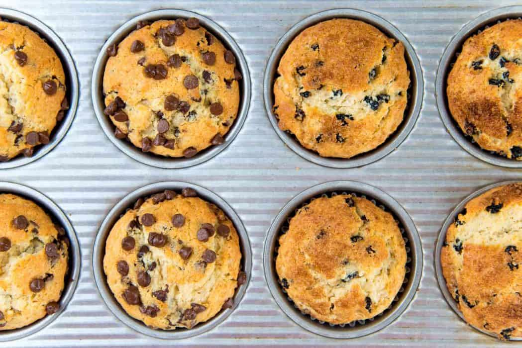 Chocolate chip muffins, Raisin Cinnamon muffins freshly baked