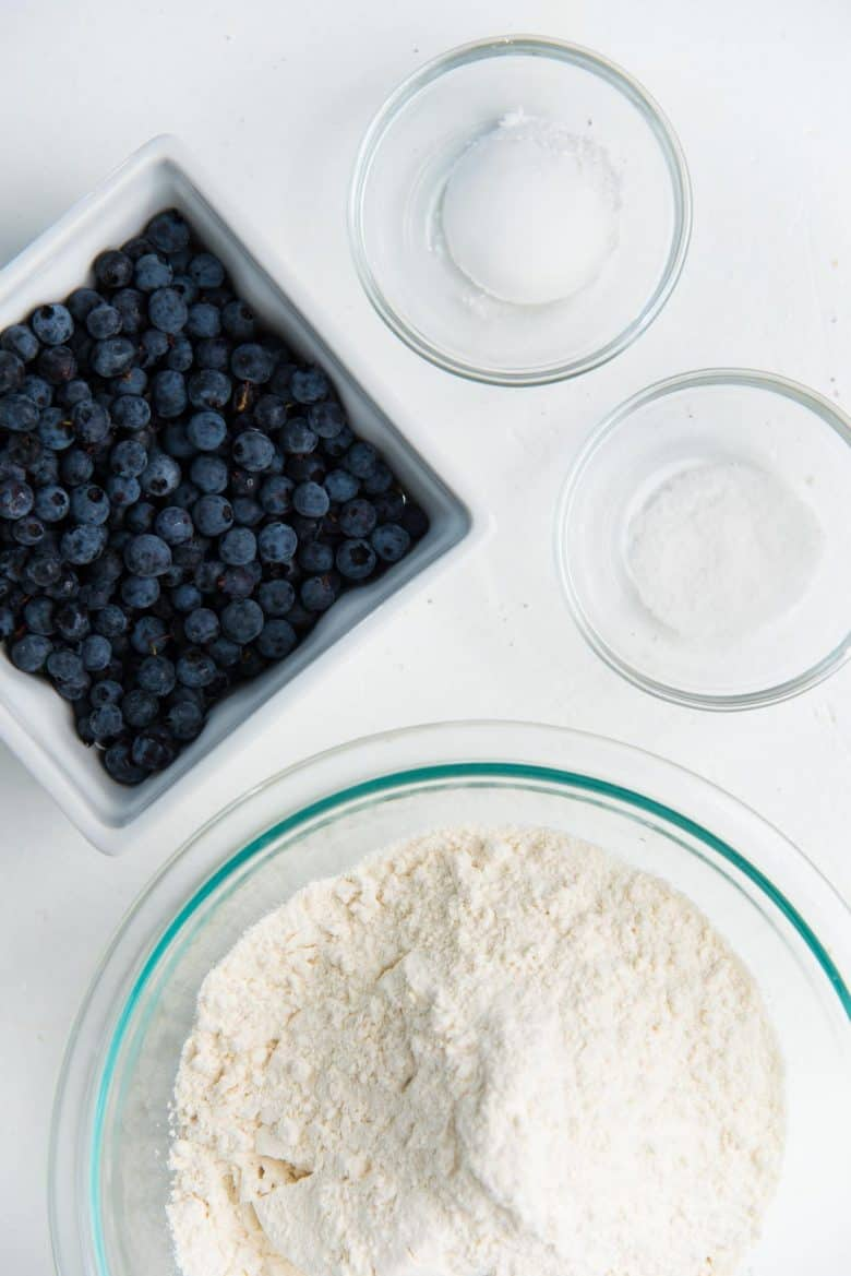 Dry ingredients plus wild blueberries for the blueberry muffin recipe