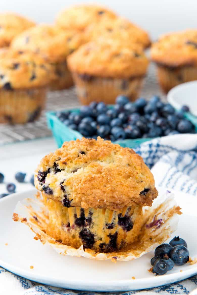 Blueberry muffin with the paper liner removed