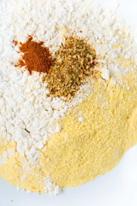 Adding spices to the dry ingredients