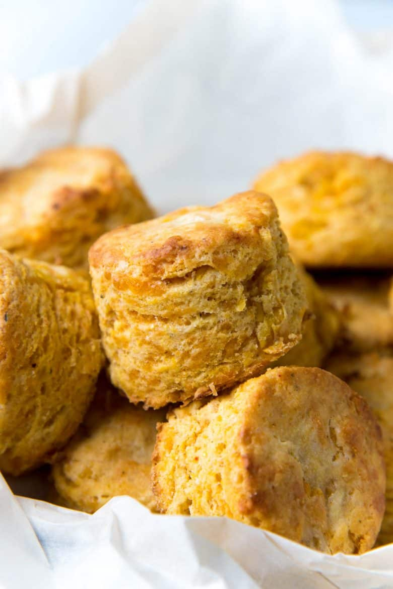 Cheddar Corn Biscuits in a serving basket