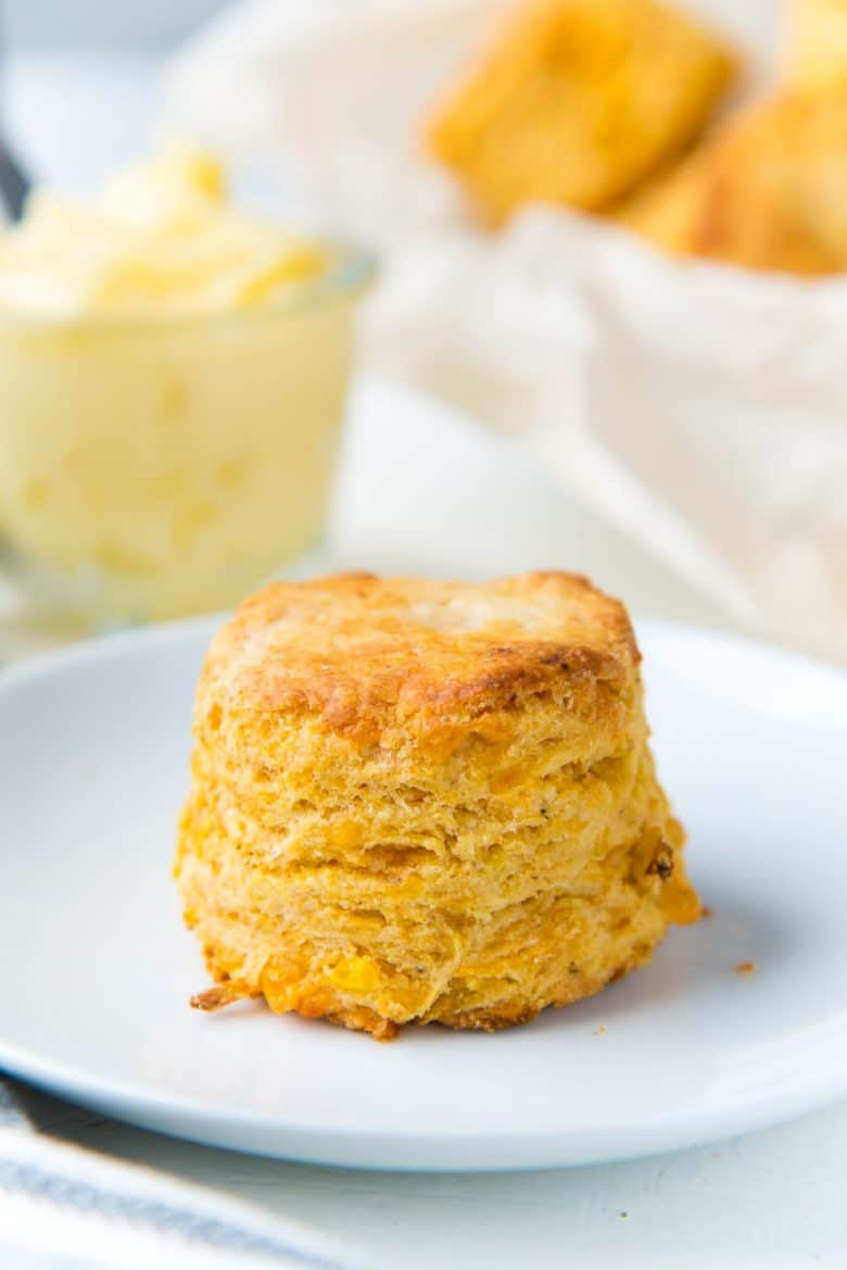 CHeddar Corn Biscuit on a white plate