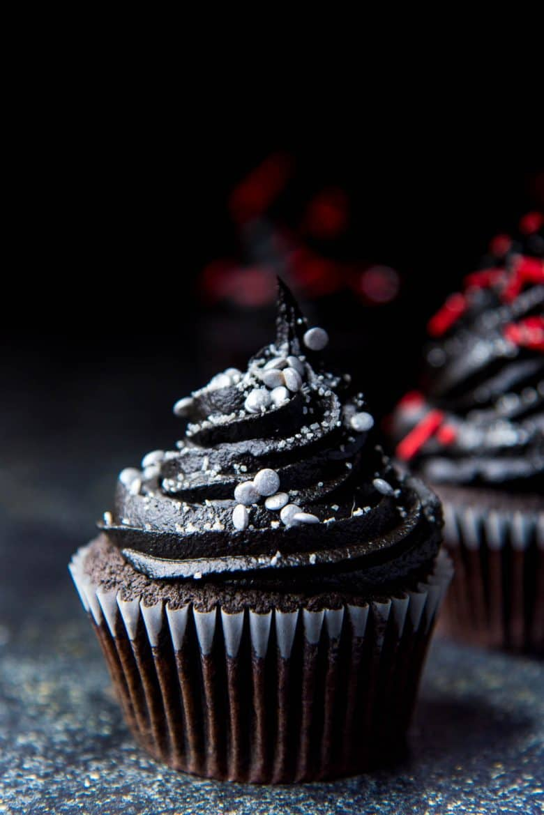 Black cupcakes with silver sprinkles