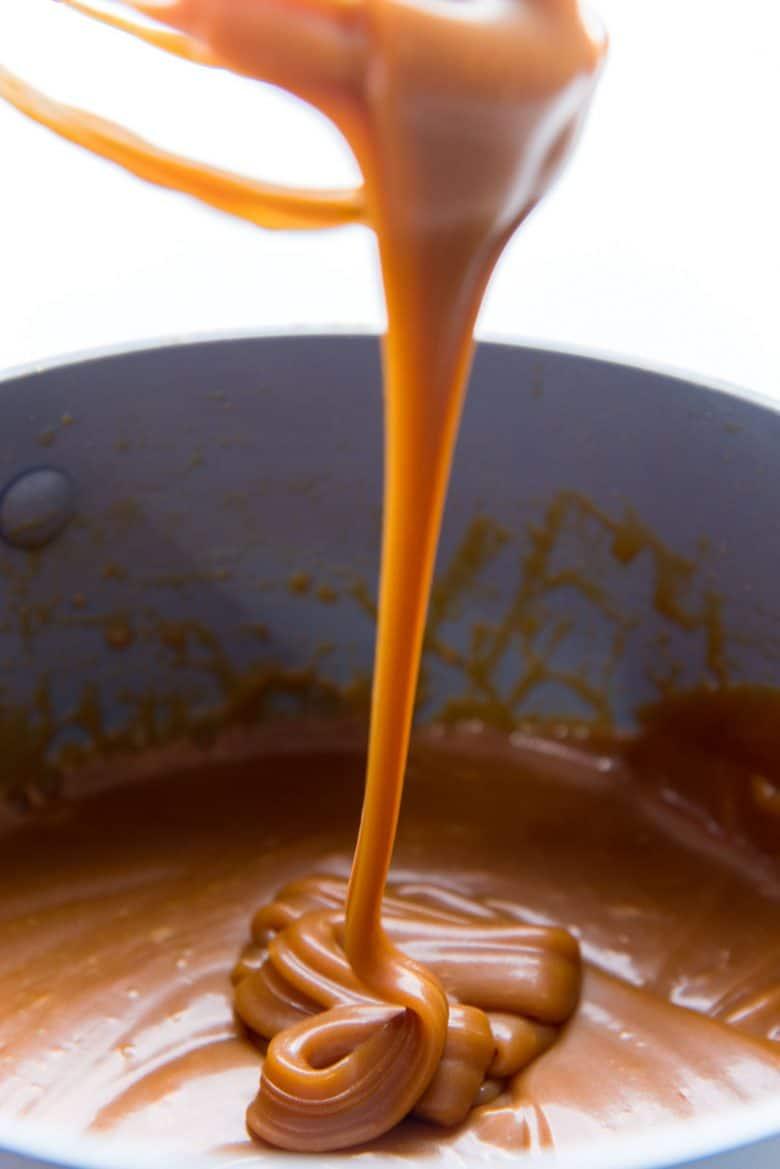 Salted Caramel sauce cooling in a saucepan